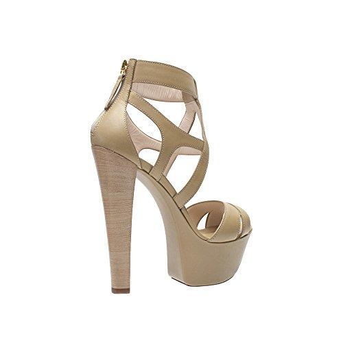Sandalo Posteriore Con Zip In Pelle Beige Lorenzi Gianmarco Beige