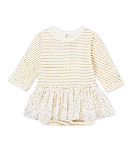 Petit Bateau Baby Girls Long Sleeve White/Gold Striped Bodysuit Tutu (3 Month) ()