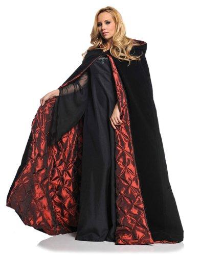 Black And Red Cloak (Underwraps Gothic Vampire 63in Velvet Satin Cloak OS Black,)