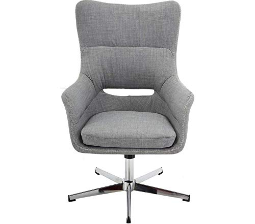Wood & Style Office Home Furniture Premium Wingback Stationary Gray with Adjustable Gas Lift Seating and Chrome Base, Office Chair, Grey ()