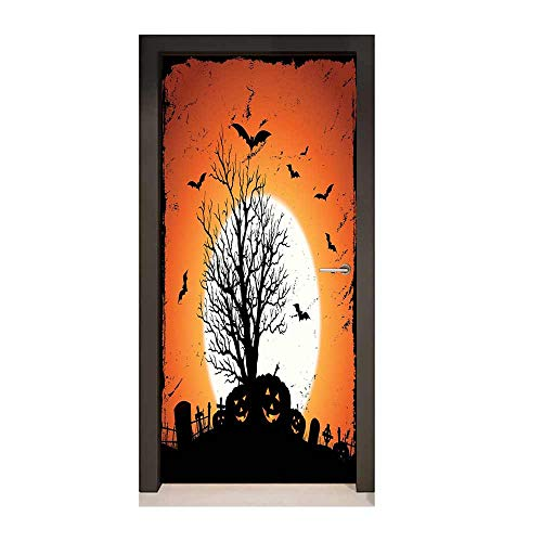 Vintage Halloween 3D Door Sticker Grunge Halloween Image with Eerie Atmosphere Graveyard Bats Pumpkins Creative Self-Adhesive Decoration Orange -