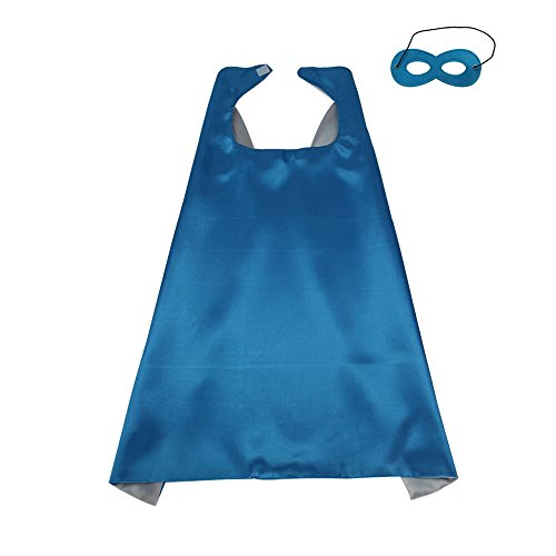 70cmX70cm Special Polyester Boys&Girls Cape+Mask Any Color Double-Sided (Blue-Sliver)]()