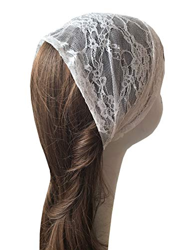 (Soft Lace Head Cover Lace Headband Headwrap Church Veil H1 (Ivory))