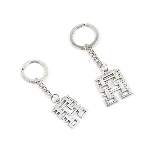Price per 100 Pieces Key Tag Chain Ring Keyring Keychain Q4NA3 Double Happiness ()