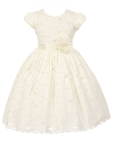 off white lace flower girl dress - 3