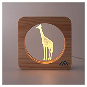 Giraffe Led Night Light Low Power & Energy Used Solid Wooden-Frame Manual Switch Soft Lighting Good Home, Nursery Decorate Light Creative Gift to Send Child