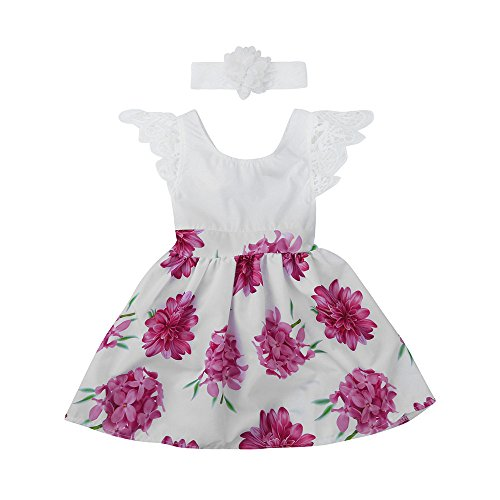 Birdfly Baby Girls Flying Sleeves Floral Dress Matching Flower Lace Headband Toddlers Casual Sundress Cute Outfits for School Holidays Photoshoot Wedding Party Dress Up (5T, (Cute Outfit For School)