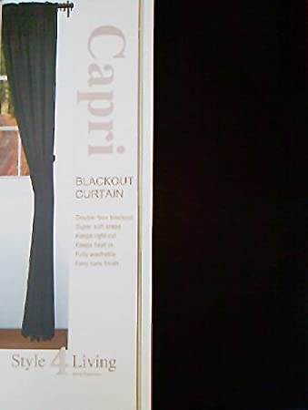 THERMAL BLACKOUT CURTAINS - BLACK - 66 inch x 72 inch Pencil Pleat ...