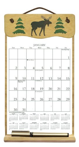 Wooden Refillable Calendar Holder Filled with The Rest of 2019, 2020 and an Order Form for 2021-MOOSE