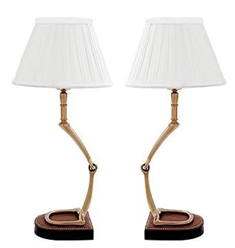 Casa Padrino Horsebit De Luxe Lampe De Bureau Blanc Aged 2 Lampes
