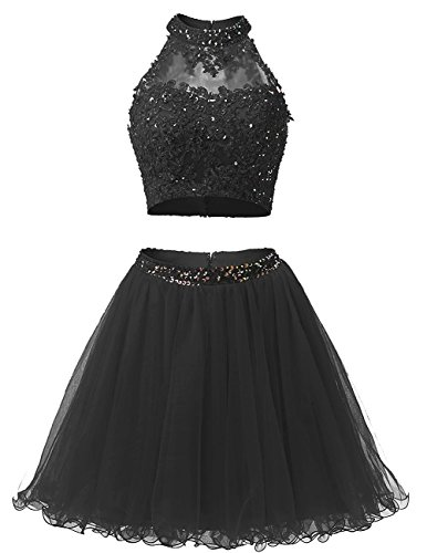 Beaded Short Dress Little Black Dress (EverLove Short Applique Prom Gowns Beaded Two Pieces Homecoming Dresses EL0044 8 Black)