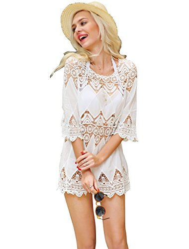 DQdq Women's Crochet Bathing Suit Cover Up White Small