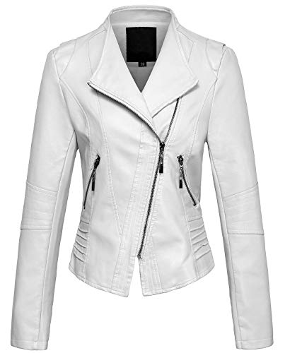 (chouyatou Women's Casual Collarless Cropped Pu Leather Biker Jacket (X-Large, White))