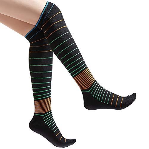 Women Striped Patterned Knee High Socks Cotton Boot Socks Dress Socks -Made for Athletics Pregnancy Running Flight Travel