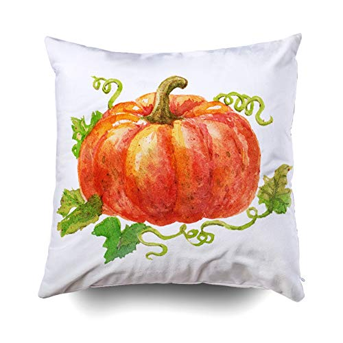 Pamime Square Throw Zip Pillow Case Cute Watercolor Pumpkin Isolated White Background Sweet Perfect Happy Halloween Pillow Case Cover Decorative Cushion for Home 20X20Inches Art Pillowcase ()