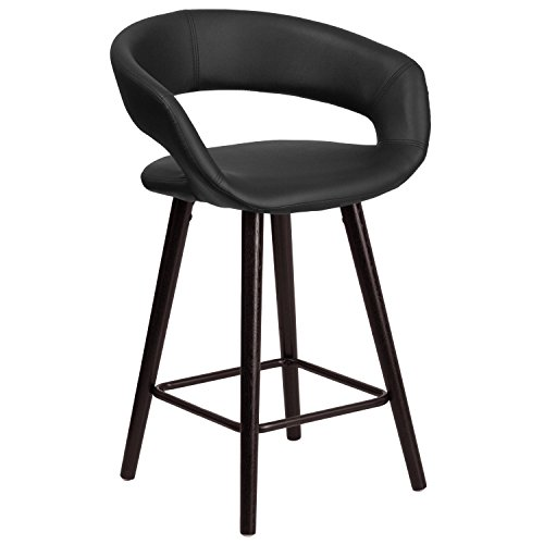 Flash Furniture Brynn Series 23.75'' High Contemporary Cappuccino Wood Counter Height Stool in Black Vinyl