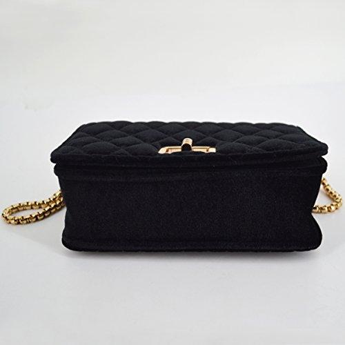Crossbody Shoulder Velvet YAOSEN Women Bag Chain Quilted Black Vintage Bag Bag pxHq8t