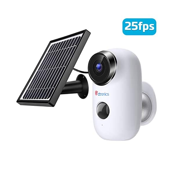 Ctronics Wireless Rechargeable Battery Security Camera with Solar Panel