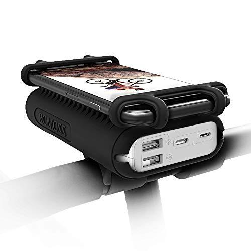 "Romoss Soporte Movil Bicicleta con Power Bank 10000mAh Soporte Móvil Moto Cargador Portátil Ajustable Silicona 4""-6…"