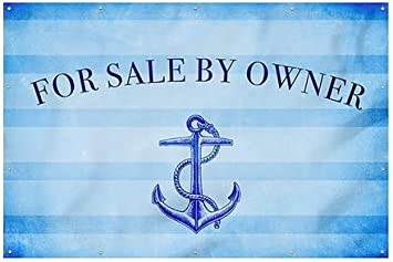9x6 CGSignLab Nautical Stripes Wind-Resistant Outdoor Mesh Vinyl Banner for Sale by Owner