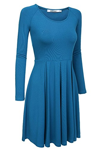 Hihihappy Trendy Women's Casual Slim Fit and Flare Round Neckline Dress Teal ()