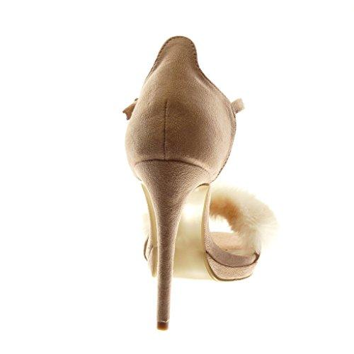 Sandale Aiguille Angkorly Clair CM Lanière Lanière 11 Femme Mode Rose Escarpin Cheville Haut Fourrure Talon Chaussure Stiletto gr7wFxrEq