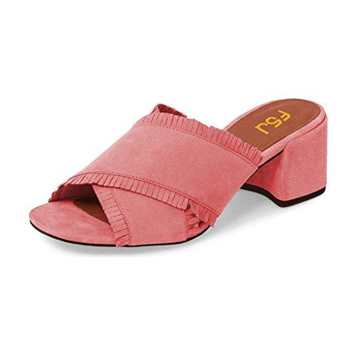 FSJ Women Comfort Open Toe Mules Faux Suede Cutout Sandals with Fringe Slide Block Heels Size 8 - Out Coral Cut