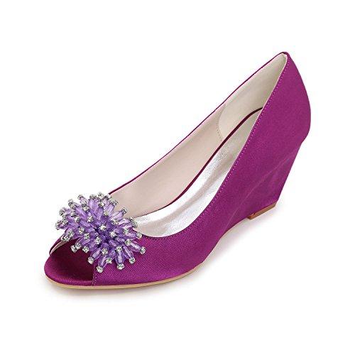 et mariage Slip YC couleurs de chaussures confortables Silk plus L Sandales Elegant Heels arcs de purple xqYwxPBR