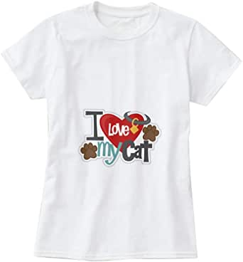 1Piece T-Shirt with design for Women - I Love my Cat, Size M