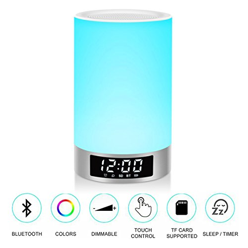 Jacaranda L5 HD Sound Portable Bluetooth Speaker, Built-in Mic and Micro SD Card Support, Dimmable Bedside Touch Lamp with RGB Color Changing, Wake Up Alarm Clock Sleep Night Light for Baby, Silver