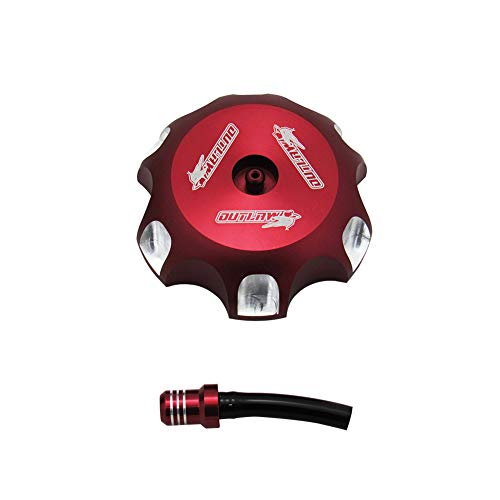 Outlaw Racing Billet Anodized Fuel Tank Cap with Vent Hose Red -Honda Dirt Bike CRF250/450R from Outlaw Racing Products