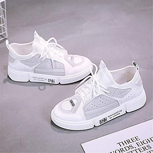 Grigio Piatto TTSHOES Per Blu 5 Comoda Scarpe Primavera 5 Estate Sneakers EU38 Bianco UK5 US7 White Donna CN38 Similpelle B8vBq