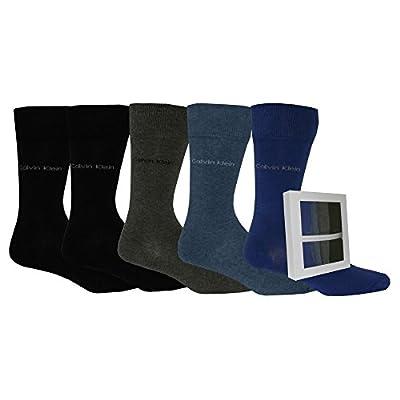 Calvin Klein 5-Pack Solid Men's Socks Gift Box, Blue/Navy/Grey/Black