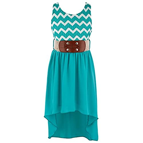 Wonder Girl Big Girls Lace & Lurex Hi-Low Dress V-Belt 12 Jade