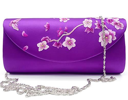 Hand-embroidered Silk Women's Evening Clutch Bag Wedding Purse Bridal Prom Ladies Handbag Party Bag Shoulder Bag (amaranth) ()