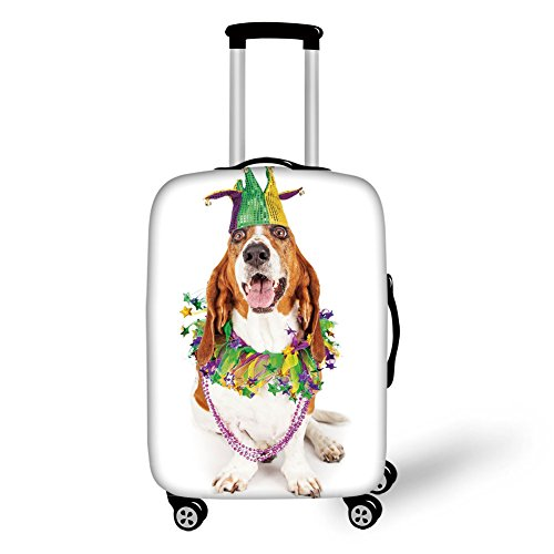 Travel Luggage Cover Suitcase Protector,Mardi Gras,Happy Smiling Basset Hound Dog Wearing a Jester Hat Neck Garland Bead Necklace Decorative,Multicolor,for Travel