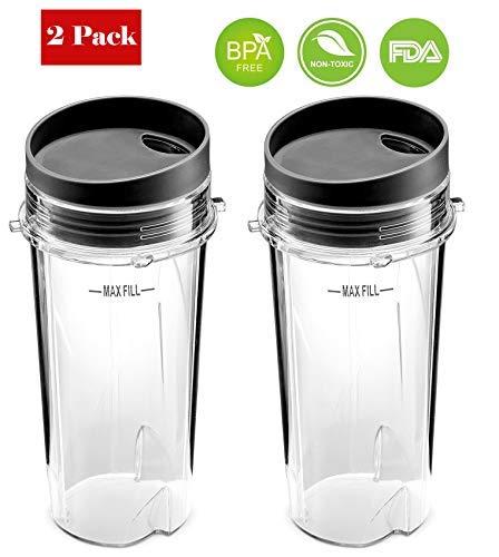BLEND PRO Replacement For Ninja 16 Oz Cup Single Serve - For Nutri Ninja BL770 BL780 BL660 Blender (2-Pack)