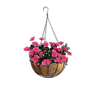 Mynse Set of Hanging Azalea Flower Artificial Hanging Basket with Chain Indoor Decor 55
