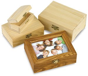 Bulk Buy: Darice DIY Crafts Wood Box Hinged with Frame Lid 7 x 5.5 inches (6-Pack) - Frames Buy Wooden