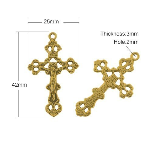 Paquet 5 x Or Antique Tibétain 42mm Breloques Pendentif (Crucifix) - (ZX08325) - Charming Beads