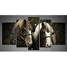 First Wall Art - 5 Panel Wall Art Black And White Plow Team Horse Plow Team With Harness And Hardware Painting The Picture Print On Canvas Animal Pictures For Home Decor Decoration Gift piece (Stretched By Wooden Frame,Ready To Hang)
