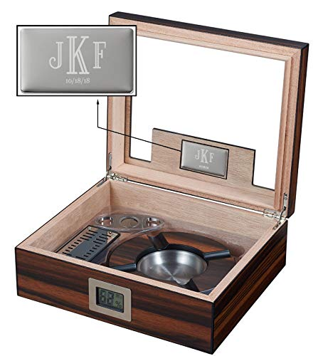 Visol Aidan Glass Top Humidor Gift Set with Cutter and Ashtray with Free Laser Engraved Metal Plate (Roman Monogram) by Visol (Image #2)