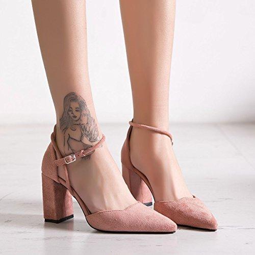 di grey raso con donna sandali alto scanalata punta singolo profonda tacco bocca poco calzature Dark ruvida scarpe Punta tacco scarpe alta nuova ZHZNVX in gwz5v5