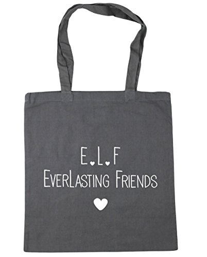 HippoWarehouse e.l.f everlasting friends Tote Shopping Gym Beach Bag 42cm x38cm, 10 litres Graphite Grey