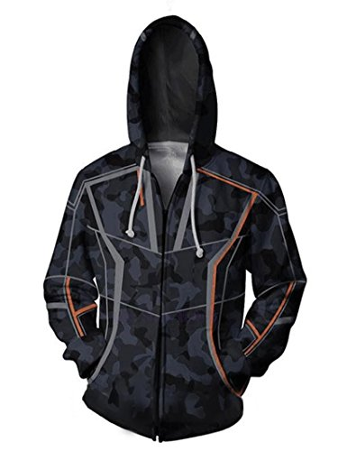 Hoodscope Unisex Cosplay Hooded Jacket Superhero Hoodies for Men Zip Up, 2XL
