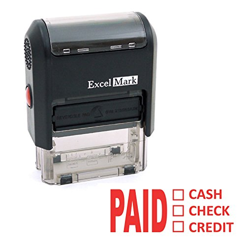 ExcelMark PAID CASH CHECK CREDIT Self-Inking Rubber Stamp (A1539-Red Ink)