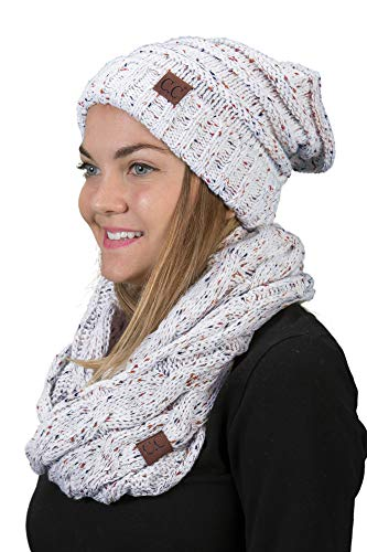 bHS-6100-2025 Oversized Beanie Matching Scarf Set Bundle - Ivory -