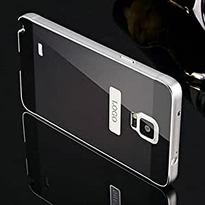 YULIN Two-in-one KX Brand Silver Metal Frame Acrylic Mirror Backplane Metal Hard Case for Samsung Galaxy Note 4