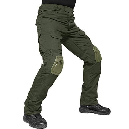 TACVASEN Tactical Airsoft Paintball Shooting Cargo Ripstop Combat Unifrom Pants for Men Multicam Army Green