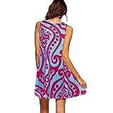 LOMONER Womens Vintage Floral Dress Dress Travel Vintage Boho Women Summer Sleeveless Beach Printed Short Mini Dress